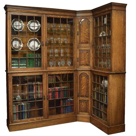 oak corner bookcase for sale at 1stdibs