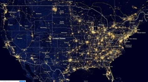 nighttime map of us light pollution