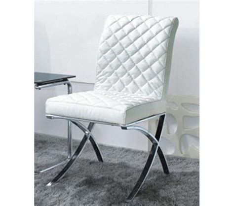 White Leather Dining Chair Dreamfurniture C1012 Modern White Eco Leather Dining Chair