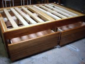 Bed Frame Wood Storage How To Build A Diy Bed Frame With Drawers Storage
