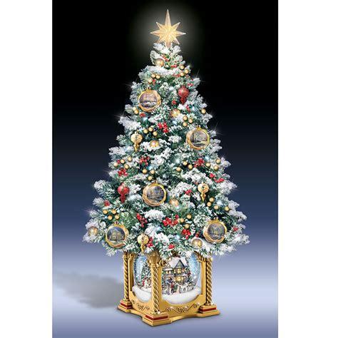 the tabletop prelit christmas tree hammacher schlemmer the thomas kinkade snow globe tabletop tree hammacher