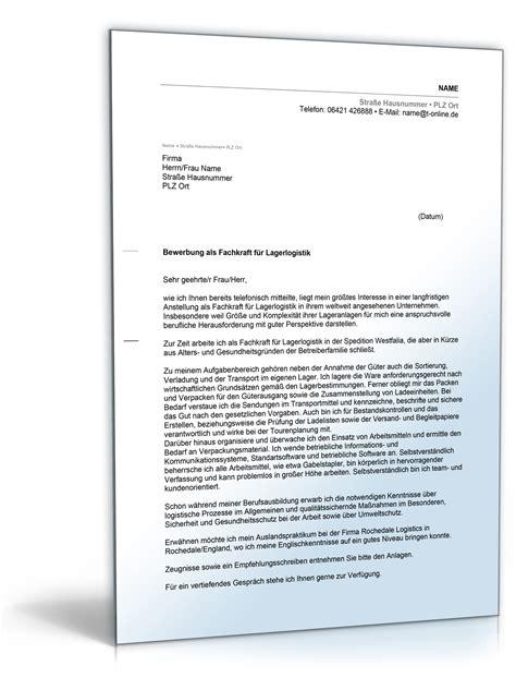 Initiativbewerbung Anschreiben Fachkraft Lagerlogistik Anschreiben Bewerbung Fachkraft F 252 R Lagerlogistik
