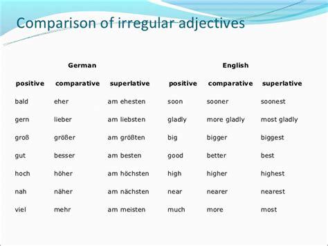 comfortable deutsch steigerung der adjektive