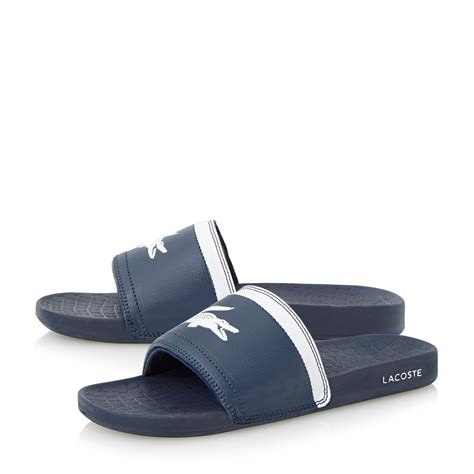 lacoste slop casual pria lacoste slip on fraisier casual sandals in blue for lyst