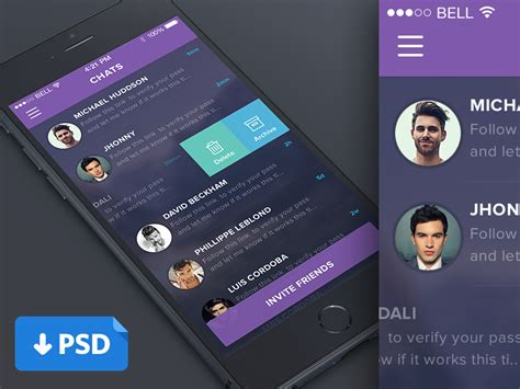 free mobile chat purple mobile chat list ui psd at downloadfreepsd