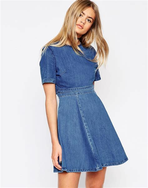 Dress Denim asos asos denim crop top skater dress at asos