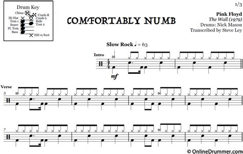 comfortably numb music comfortably numb pink floyd drum sheet music
