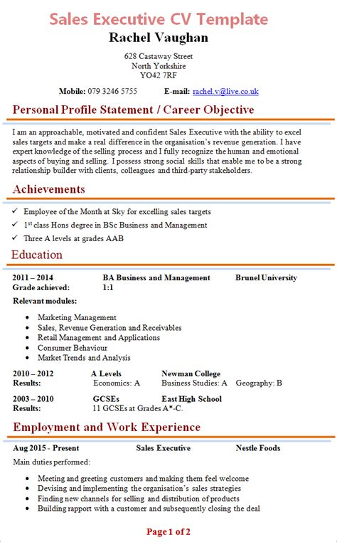 curriculum vitae format for sales executive sales executive cv template 1