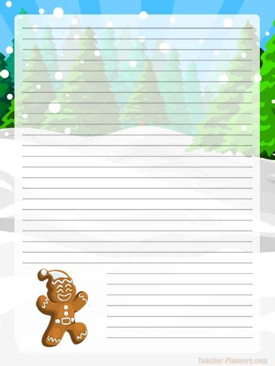 gingerbread writing paper gingerbread lined digital writing paper free letter