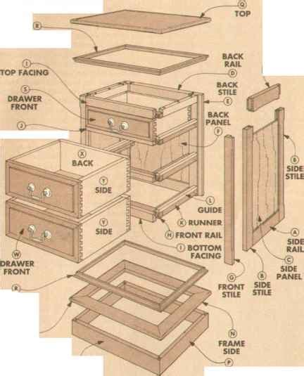 exploded view cherry night stand woodworking archive
