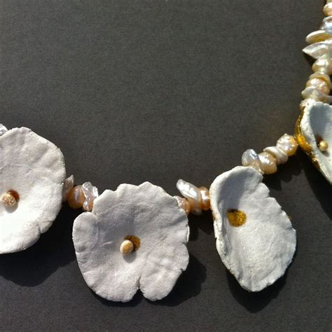 How To Make Paper Mache Jewelry - necklace papier m 226 ch 233 and resin gold leaf and pearls
