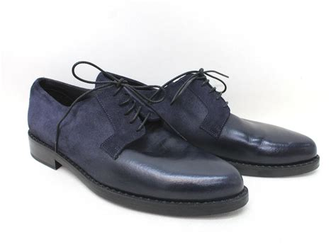jimmy choo s navy blue suede leather lace up formal
