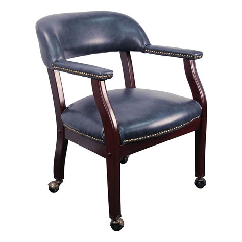 Chair Caster by Conference Room Chairs B Z100 Navy Gg Navy Blue Vinyl