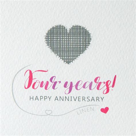 Wedding Anniversary Linen by Fourth Wedding Anniversary Card Linen By Miss Shelly