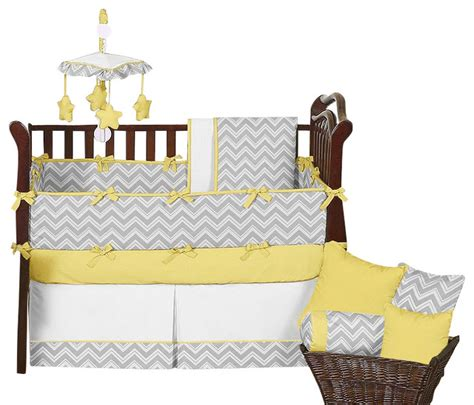 Zig Zag Yellow And Gray Chevron 9 Piece Baby Crib Bedding Yellow And Gray Chevron Crib Bedding