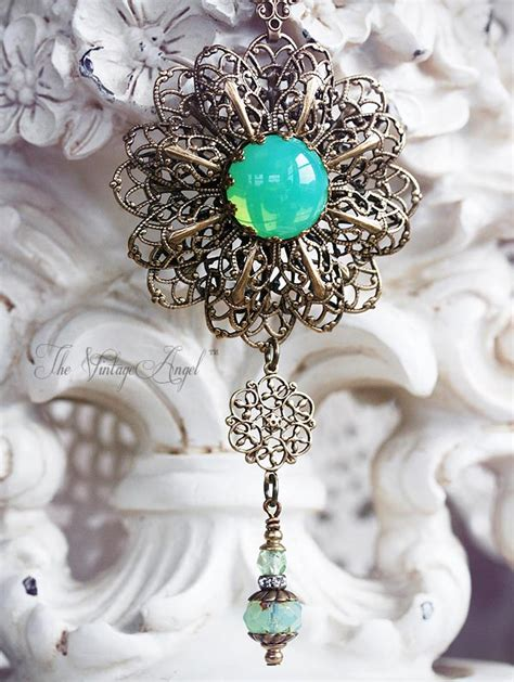 green opal necklace green opal filigree necklace