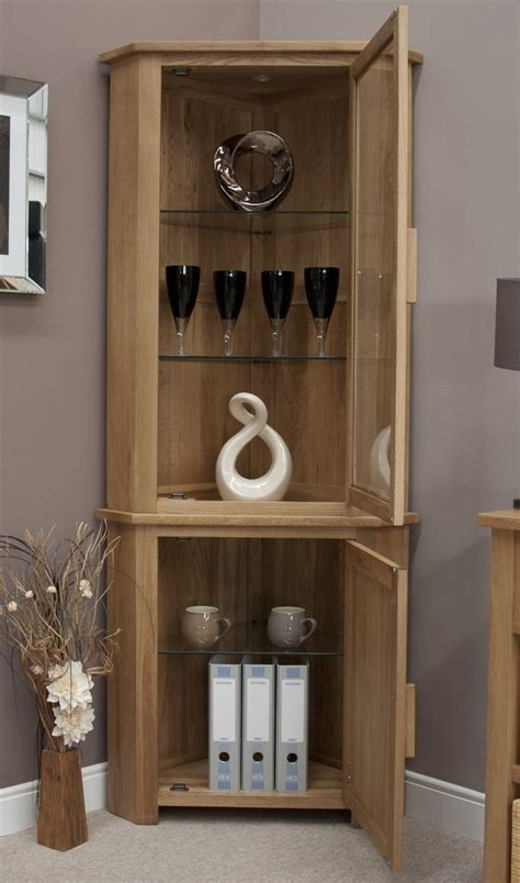 Living Room Display Furniture Eton Solid Oak Living Room Furniture Corner Display Cabinet Unit With Light Ebay
