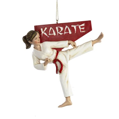 martial arts karate girl kid christmas tree ornament