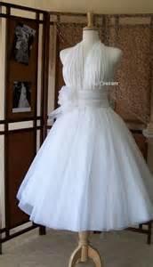Retro inspired tea length wedding dress vintage style bridal gown