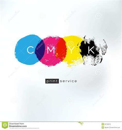 4 color print cmyk print service artistic logo concept stock vector