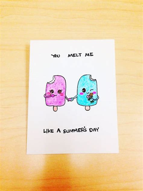 funny anniversary card popsicle pun card you melt me