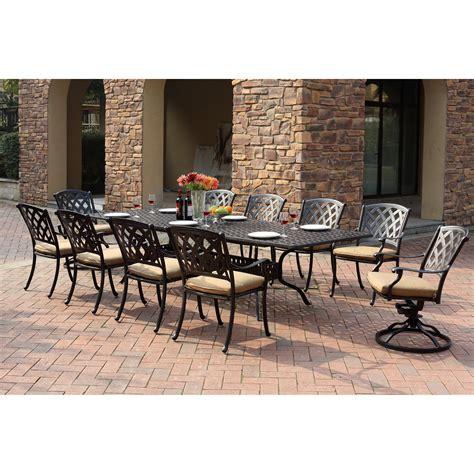 11 patio dining set darlee view aluminum 11 rectangular extension