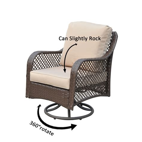 pc rattan wicker sofa rocker chair swivel patio garden furniture set cushioned ebay