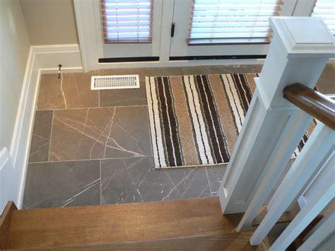 Traditional Cherry Bedroom Furniture - stone floor foyer