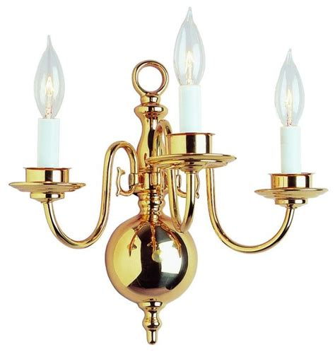 Traditional Wall Sconces Three Light Polished Brass Wall Light Traditional Wall