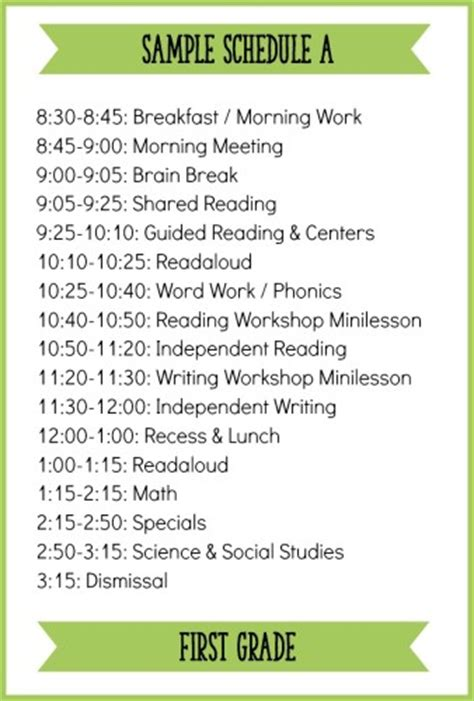 Fitting It All In How To Schedule A Balanced Literacy Block For First Grade Learning At The Second Grade Schedule Template