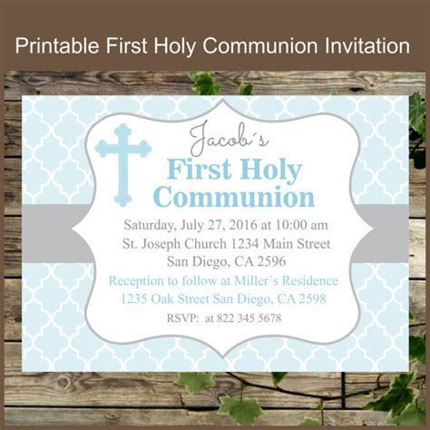 Printable Communion Invitation Kits | first holy communion invitation printable personalized
