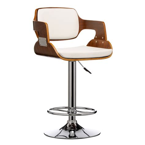 Stylish Bar Stools Uk by Stool Leather Effect Walnut Wood Bar Stool Comfortable