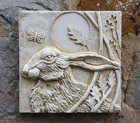 Hare Wall Tile Left Garden Wall Plaque Garden Wall Garden Wall Plaques
