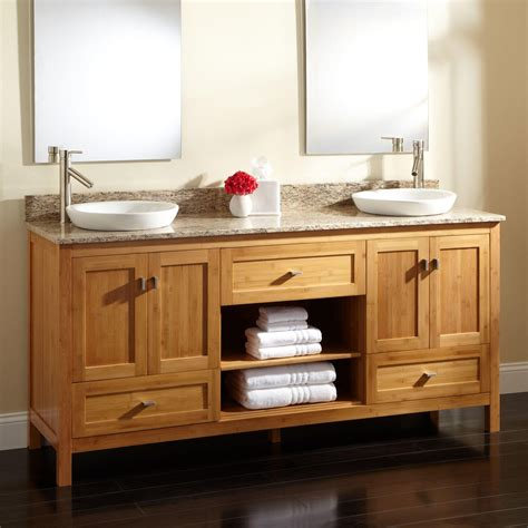 Bathroom Vanities With Two Sinks 72 Quot Alcott Bamboo Vanity For Semi Recessed Sinks Bathroom Vanities Bathroom