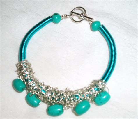 Handmade Bangles Ideas - turquoise gemstone and turquoise wire coil bracelet