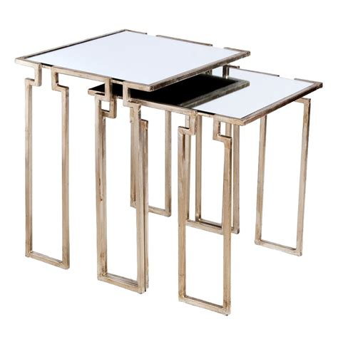 Silver Side Table Regency Antique Silver Leaf Mirror Nesting Side Tables Kathy Kuo Home