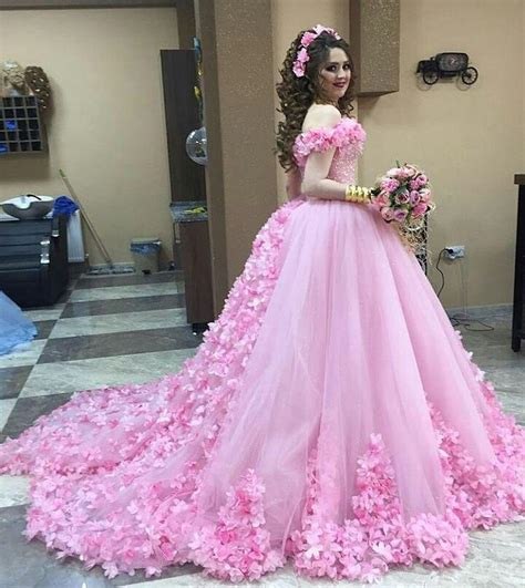 beautiful pink flower wedding dresses gowns shoulder on luulla