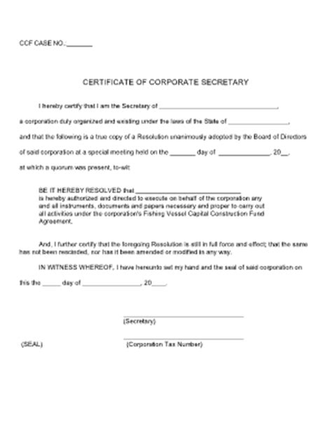 secretary certificate board resolution pictures to pin on