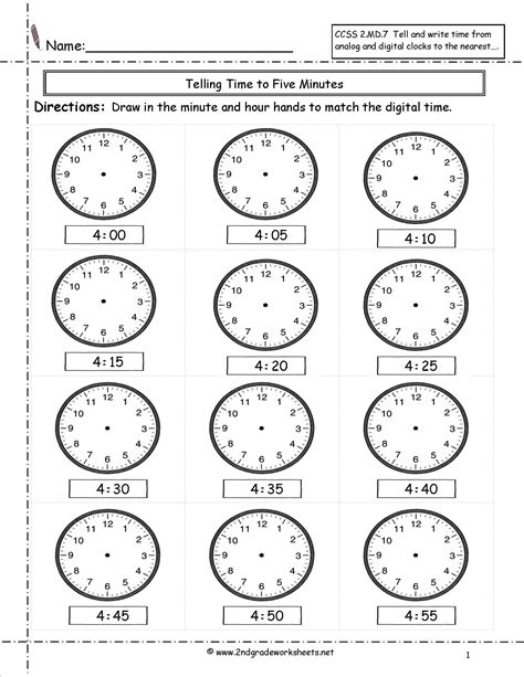 Telling Time Worksheet by Telling And Writing Time Worksheets