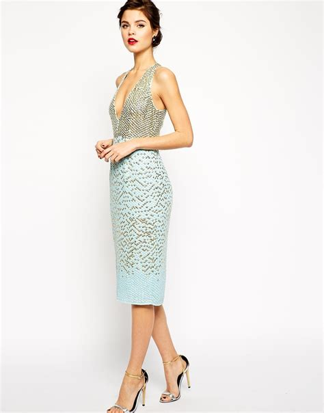 Dress Premium 22 lyst asos carpet premium embellished midi dress with plunge front in blue