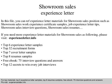 Work Experience Letter Salesman Showroom Sales Experience Letter