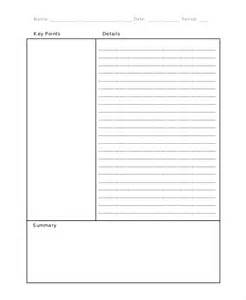 cornell note template 11 cornell note templates free sle exle format