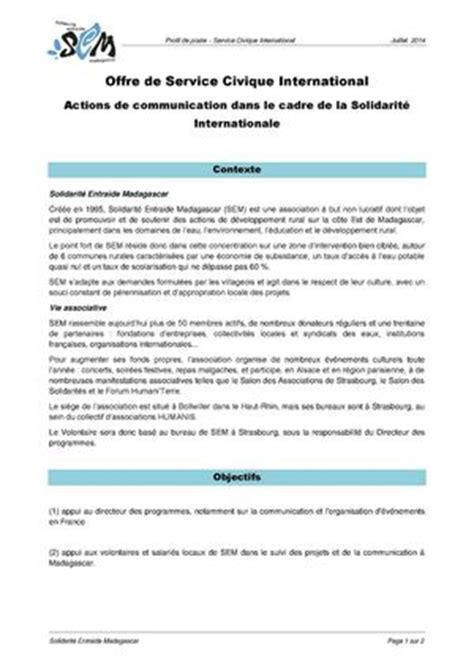Exemple Lettre De Motivation Service Civique Exemple Cv Service Civique One Cv