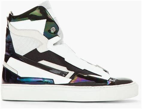 Raf Simons Shoes Black And White by Raf Simons Black White Leather Holographic Space Sneakers In Multicolor For Black Lyst