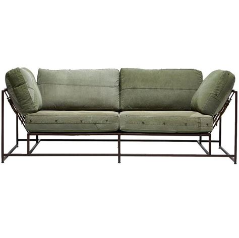 military sofa vintage military canvas and marbled rust two seat sofa for