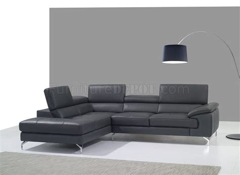 A973 Sofa Sectional In Slate Grey Premium Leather By J M Slate Grey Leather Sofa