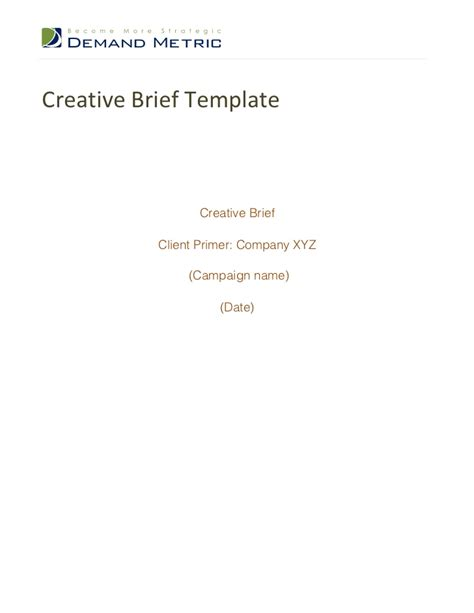 how to write a creative brief template creative brief template cyberuse