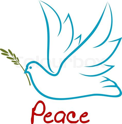 Raised Peace Of blue outline symbol of flying dove with raised wings and