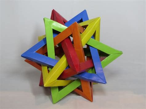 Origami Five Intersecting Tetrahedra - learn the of origami everywhere