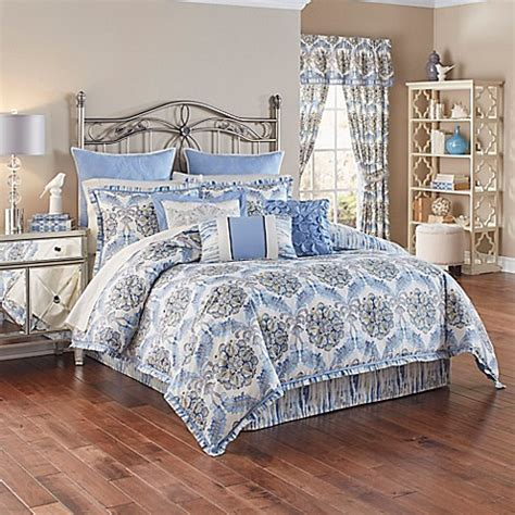 bedding waverly waverly 174 the moon reversible comforter set in lapis bed bath beyond